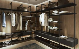 Walk-in Closet - ORTO column system in Graphite matt finish