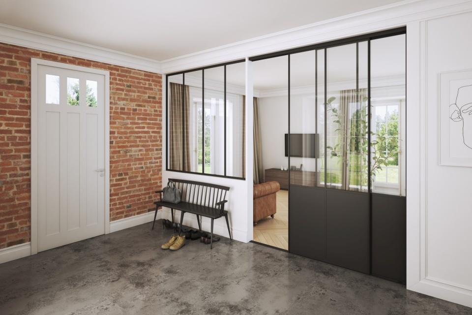 clear glass sliding doors divider