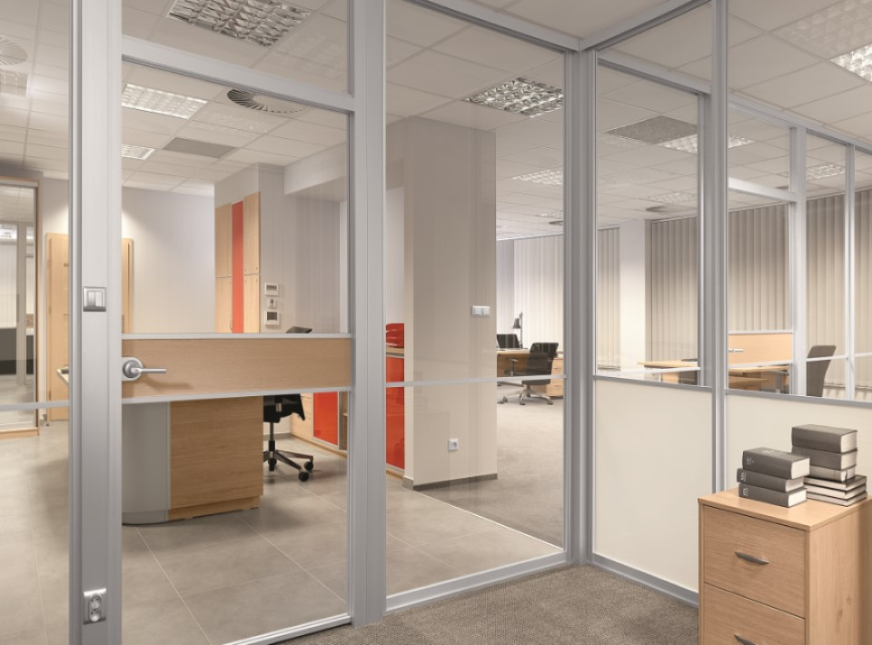 glass partitions within office
